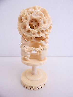 Vintage Chinese Hand Carved 7 Layer Puzzle Ball with Stand Dragon Flower