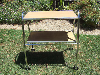 Mid Century Retro Chrome and Laminex 1960's Tea Trolley/Drinks Trolley