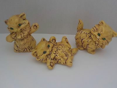 Vintage Ceramic Yellow Cats with Green Eyes Set of 3