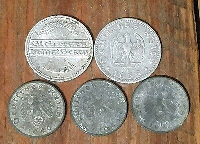 lot of 5 vintage Germany coins 5 50 reichs pfennig 1921-1940