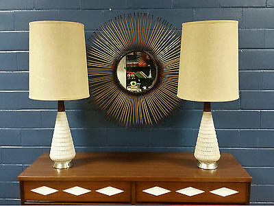 Mid Century Modern Pair Ceramic Table Lamps with Shades Pottery Vintage