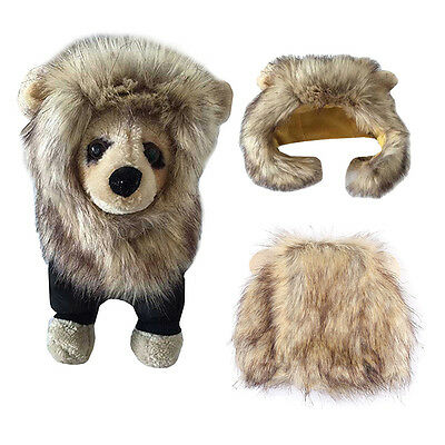 Small Pet Puppy Dog Cat Costume Lion Mane Hat Warm Winter Cosplay Dress Up New