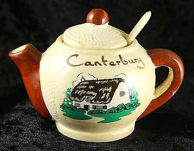 "Manor wear preserve pot in shape of teapot ""Canterbury"" plus liner & spoon"