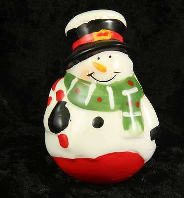 Avon pottery Snowman & santa pepper pot & salt pot  3 inches tall used with tray