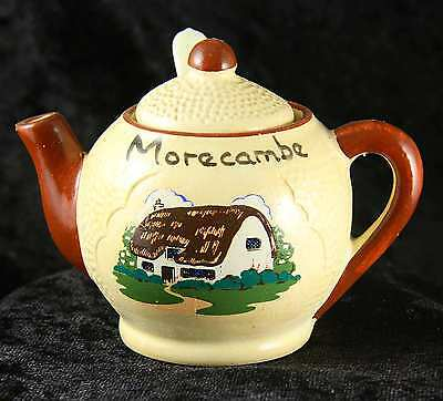 "Manor wear preserve pot in shape of teapot ""Morecambe"" plus liner & spoon"
