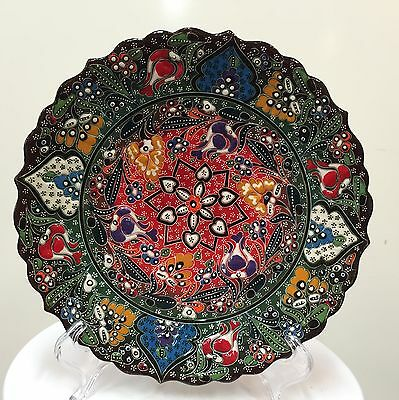 Turkish Hand Painted and Handmade Ceramic( 25cm ), Colorful Traditional.