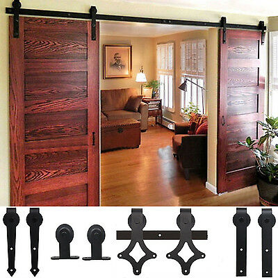 Wood 5-12 FT Antique Sliding Barn Door Hardware Rustic Roller Track Kit V