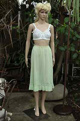 Cute vintage Vanity Fair mint green 1950's slip with ruffle pinup lingerie S/M