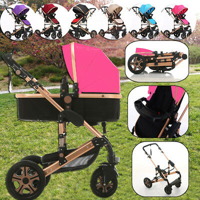 Folded 8IN1 Baby Stroller Jogger Newborn Reversible Seat Kids Pram &Bassinet