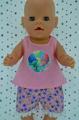 "Play n Wear Doll Clothes To Fit 17"" Baby Born FLORAL PANTS~PINK TOP"