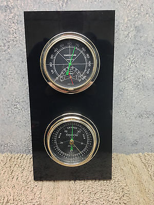 Vintage Modern Black Lucite Weather Station Barometer Thermo Hydra