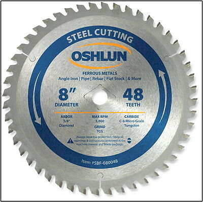 "OSHLUN  SBF-080048  8"" x 48T Steel Cutting Saw Blade"