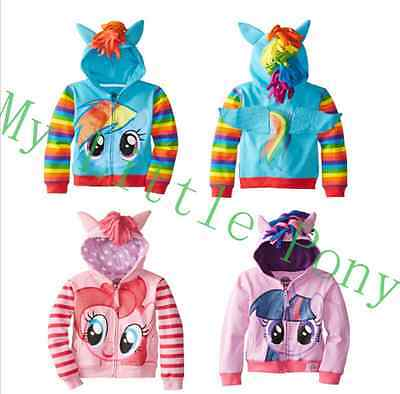 My Little Pony Wing Kids Girls Toddler Hoodie Cute Sweatshirt Coat Zip Christmas
