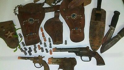 Antique Vintage Toy Cowboy Holsters, Cap Guns and Knives