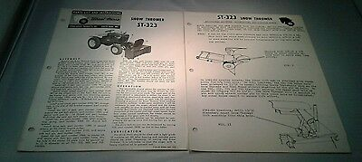 Original WHEEL HORSE SNOW THROWER ST-323 Parts List Instruction w Assembly 1962