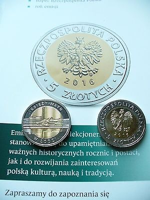 Poland 5 Zlotych  Coin 2016 Edition Lot Of 2 + Folder.