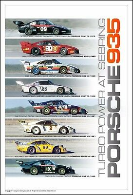 Porsche 935 Turbo Power At Sebring  1979 to 1982  Poster NEW
