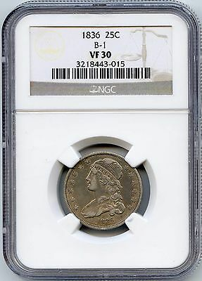1836 25C Capped Bust Silver Quarter. NGC Graded VF 30. Lot #2368