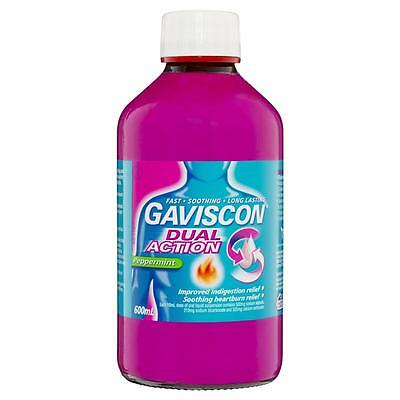 Gaviscon Dual Action Liquid 600ml Peppermint Flavour | Heartburn & Indigestion