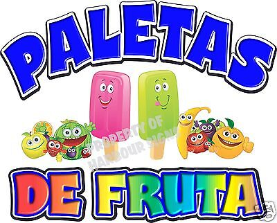 "Paletas Popsicles  Fruit Concession Cart Food Truck Van Decal 24"" Vinyl  Menu"