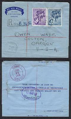 #141,#176, April 25 1958 Victoria, Registered Air Letter Aerogramme to USA