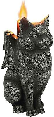 Cat Stone Gargoyle Candle Holder Collectible Figurine 5 Inches Tall