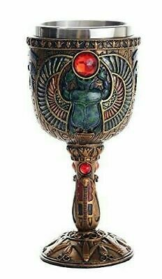 "Ancient Egypt Scarab Goblet 6.75"" Tall Ceremonial Chalice Cup 7oz Wine Goblet"