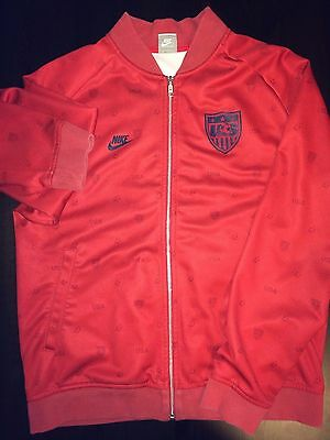 NIKE USA Soccer Sideline Track Jacket with printing - RED Full Zip  RARE LARGE L