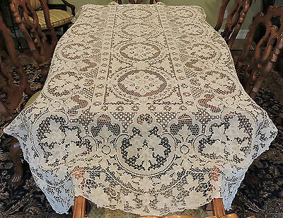 "Vintage Point De Venise Hand Made Needle Lace Tablecloth Ecru 108"" x 60"" Antique"