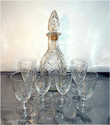Vintage 1967 London Cream Canadian Sherry, Empty Glass Decanter with 6 Glasses