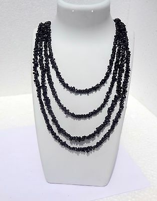 """700Cts Natural Genuine Black Spinel Chip Nugget Necklace Beads 100"""""""