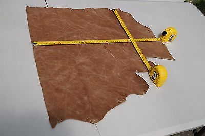 Two tone Brown Cowhide piece/off-cut 45 x 40cm  Semi aniline Cow hide leather