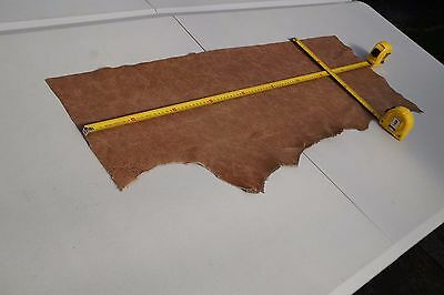 Two tone Brown Cowhide piece/off-cut  92 x 25cm Semi aniline Cow hide leather
