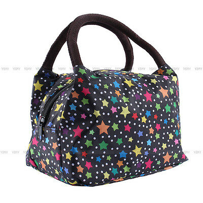 Women Insulated Thermal Cooler Waterproof Lunch Carry Star Printing Tote Bag