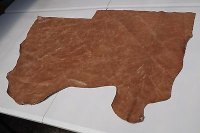 Two tone Brown Cowhide piece/off-cut 85 x 48cm Semi Aniline Flexible cow leather