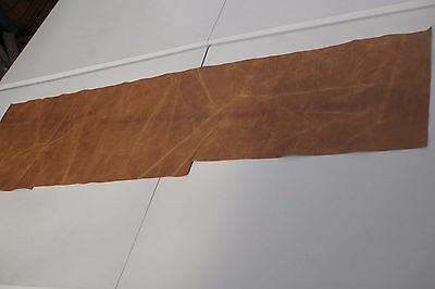 Two tone Brown Cowhide piece/off-cut  132 x 31cm Semi aniline Cow hide leather