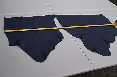 x2 Dark Blue Elmo upholstery cowhide leather pieces/off-cuts