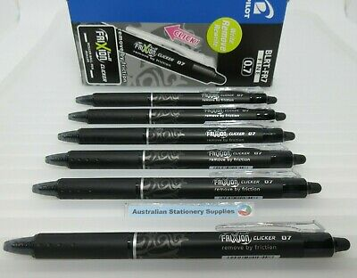 4 x BLACK  Pilot Frixion Clicker Gel Ball Pen Erasable 0.7mm nib size  BL-FR7