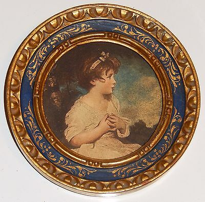 Italian Florentine Wood Picture Frame 14k Gold Leaf Lithograph Print Child 5in