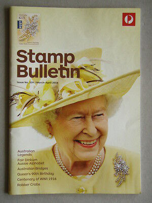 Australia Post Stamp Bulletin Issue No. 339 Mar - Apr 2016 Queen's 90th Birthday