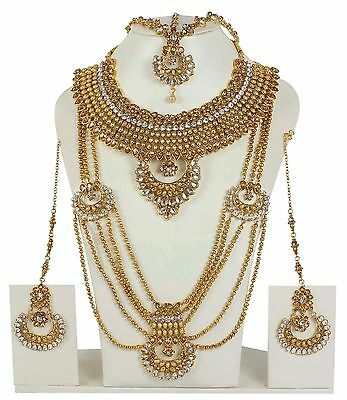 5129 Indian Bollywood Jewelry White Stone Made Gold Plated Bridal Necklaces set