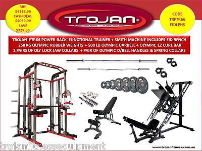 Smith Machine Power Rack Functional Trainer Bench Barbells 250Kg Plates LegPress