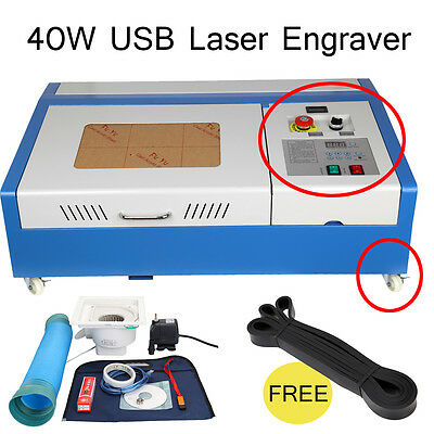 Upgraded 4 wheels 40W CO2 USB Laser Cutting Cutter Engraving Machine Engraver
