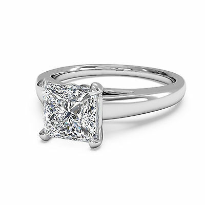 Princess Cut 2.50 Ct Diamond Solitaire Ring 14K White Gold Engagement Rings