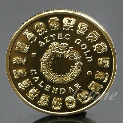 Gold Plated Mayan Aztec Prophecy Souvenir Calendar Commemorative Coin Collection