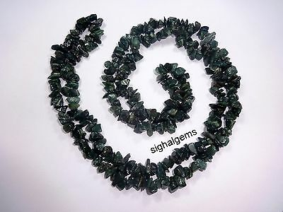 "278cts Natural Genuine  Bloodstone  Jewellery Chip Nugget Beads 34"" Necklace"