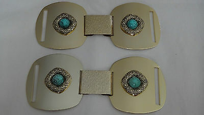 Gold Coloured Metal Buckles with Turquoise Stone