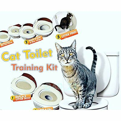 Cat Toilet Training Seat Litter Tray Kit Potty Train System Pet Kitty Supplies