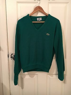 Womens Vintage Lacoste Tennis Green V Neck Sweater Size Small