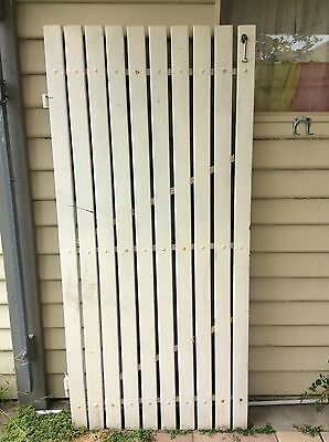 GATE - Timber Picket Style Painted Gate On A Metal Frame , 9Stg